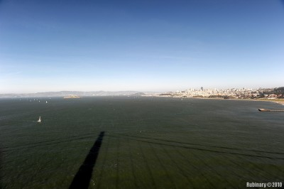 View from Golden Gate. You can see the downtown on the right and Alcatraz on the left.