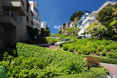 The crookedest street in the world -- Lombard Street.