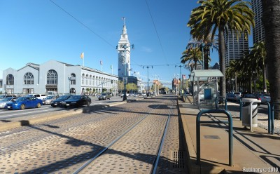 Ferry Building and tram ways that run by it.