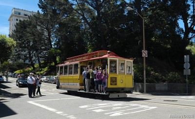 Cable car full of tourists.