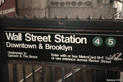 Wall Street subway station.