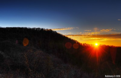 Sunset over Blue Ridge Mountains.