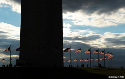 Flags around Washington Monument.