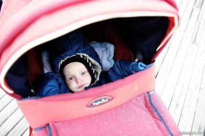 Arosha in his stroller.