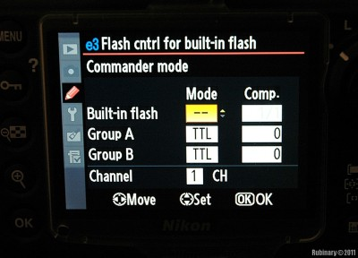 Commander mode for pop-up flash on D700.