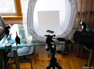 Light tent setup. Two flashes aimed at the sides, triggered with D700 built in flash.
