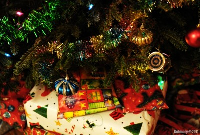 Christmas tree and gifts.