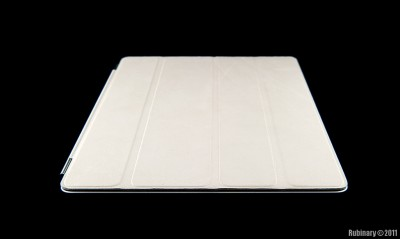 Cream leather cover on iPad 2.
