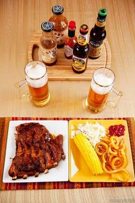 BBQ ribs with french fires and corn. And beer.