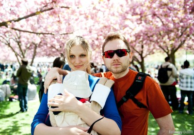 Us at Brooklyn Botanical Garden during Cherry Blossom Festival.