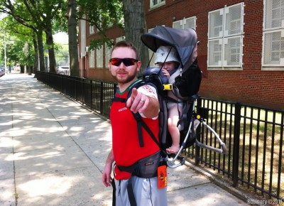 Backpack kid carrier. First ride.