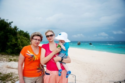 Mama, Alёna and Arosha on Warwick Long Bay beach.