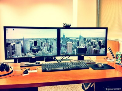 NYC Panorama wallpaper on dual monitors.