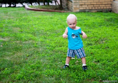 More walking. Doesn't quite know what to do with the hands yet.