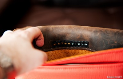 WaterField logo and gold liner.