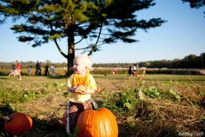 Sitting on a pumpkin.