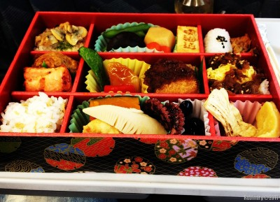 Bento box lunch on a bullet train.