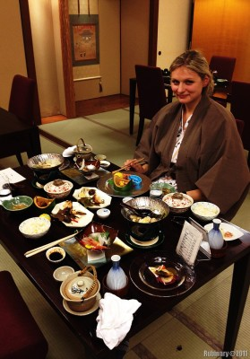 Traditional dinner at ryokan.