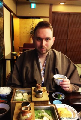 Traditional breakfast at ryokan.