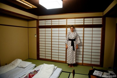Our room and Alёna in her kimono.