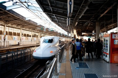 Bullet Train N700 (newest) Series at Shin-Osaka Station.
