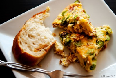 Bacon and aparagus frittata.