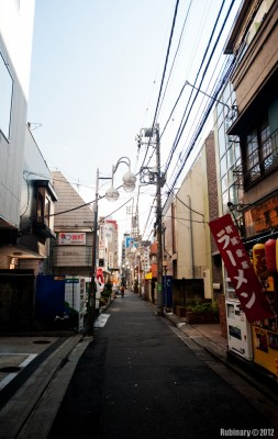 The only tiny street that we stumbled upon in Tokyo.