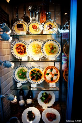 LOHB restaurant — plastic dishes on display.