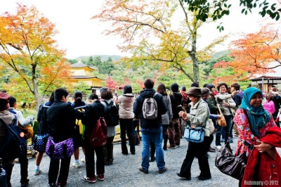 Crowd at Kinkakuji.