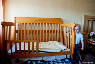Arosha's converted crib.