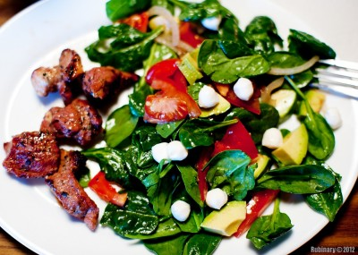 Shish-kebab with a salad.