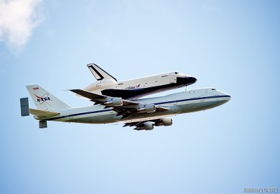 Space Shuttle Enterprise on top of Boeing 747.