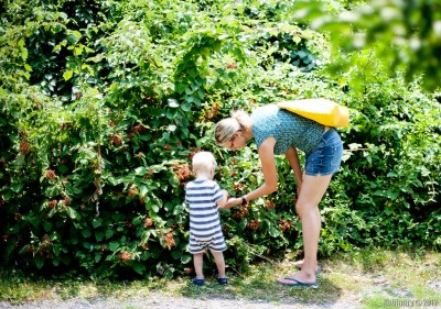 Arosha picking wild raspberries with mom.