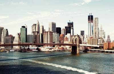Brooklyn Bridge and construction of the Freedom Tower.