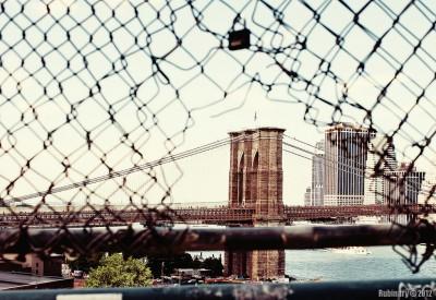 Brooklyn Bridge view from Manhattan Bridge.