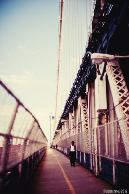Manhattan Bridge pedestrian walkway.