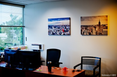 A pair of canvas prints on the wall of my office.