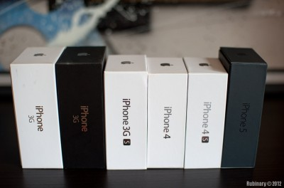 Our collection of iPhone boxes.