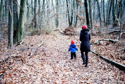 Arosha and Alena. Exploring the woods.