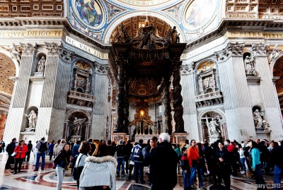 Inside Saint Peter's Basilica.