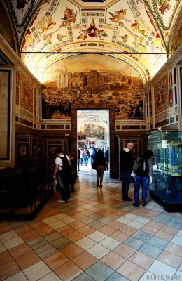 Long halls of Vatican Museums.