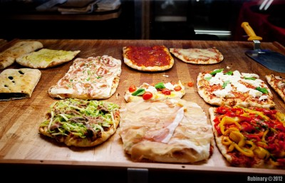 Pizzeria selection.