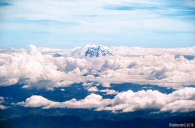 Mount Rainier through the clouds.