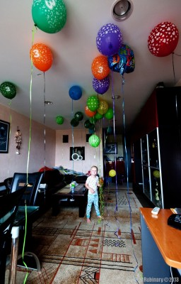 Birthday balloons.