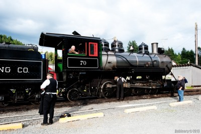 Steam locomotive at Elbe station.