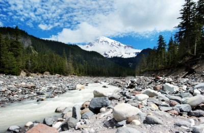 Mount Rainier from the bed of glacier formed river.