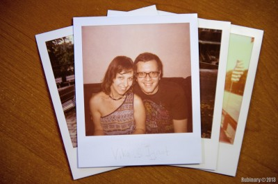 Vika and Ignat. Polaroid film.