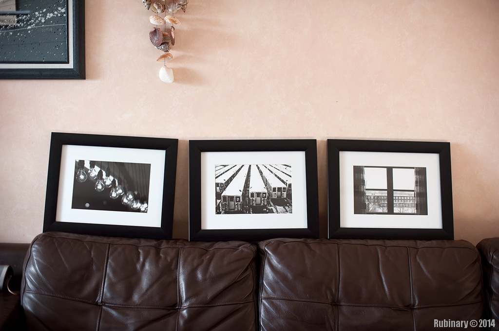 A set of three black white prints