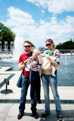 Us at WWII Memorial. Lincoln Memorial in the background.