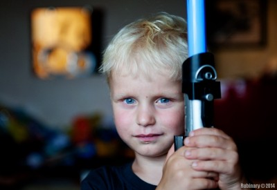 Arosha with his lightsaber.